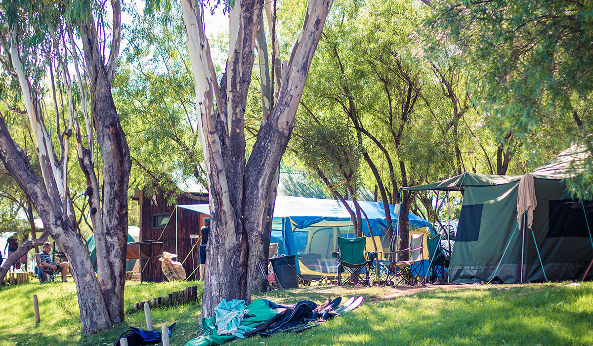 Camping area at Broadwater is full equipped with each one having it's own bathroom