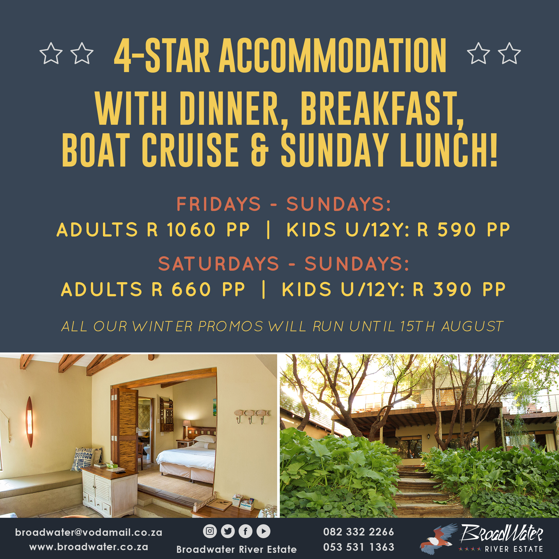 4 star accommodation with dinner breakfast, boat cruise and sunday lunch