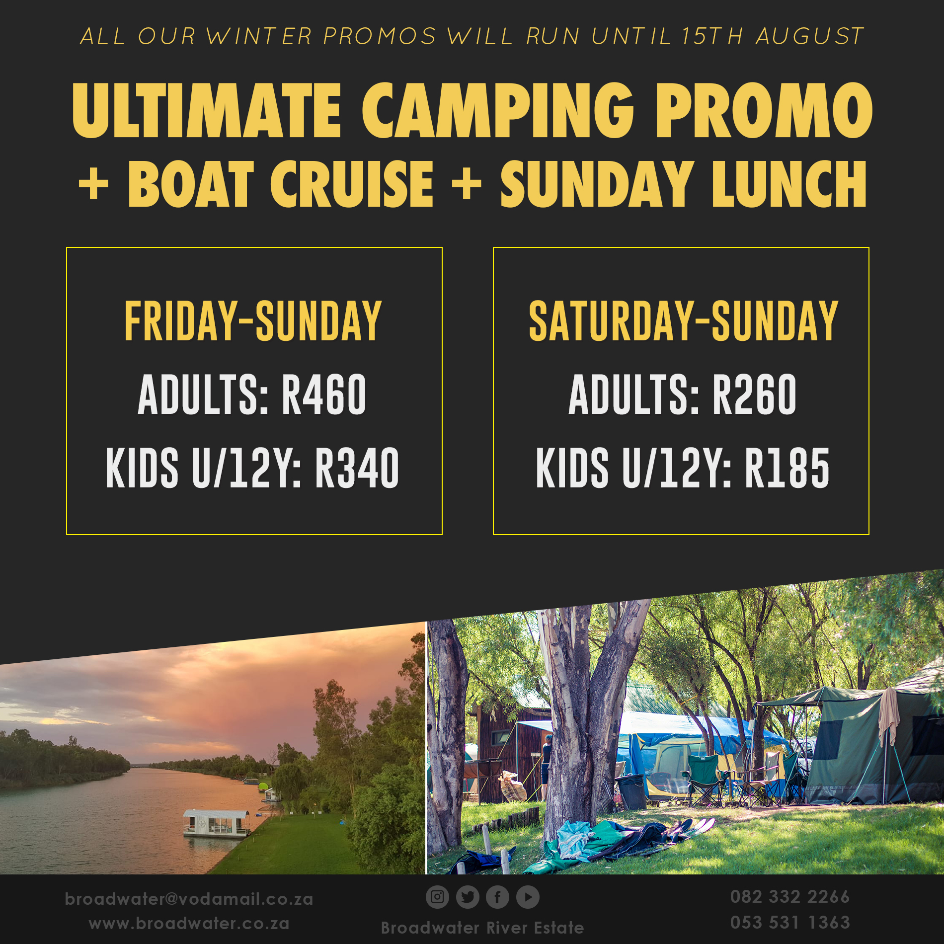ultimate camping promo with boat cruise and sunday lunch