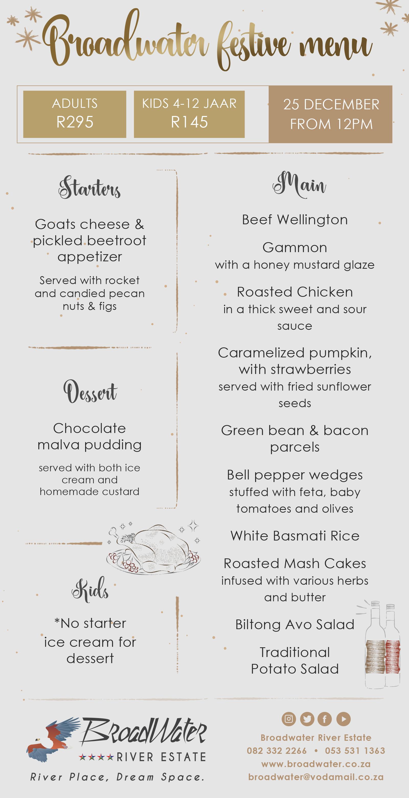 our broadwater festive menu