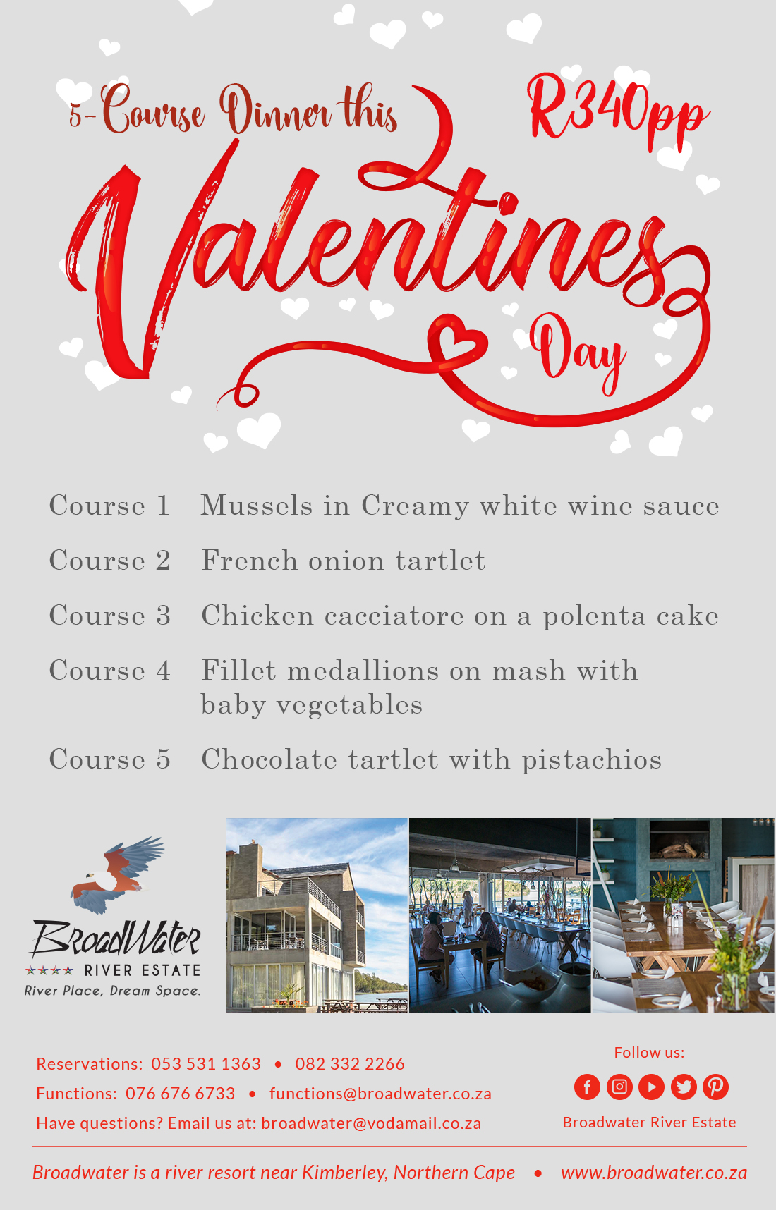5 course dinner this valentines day
