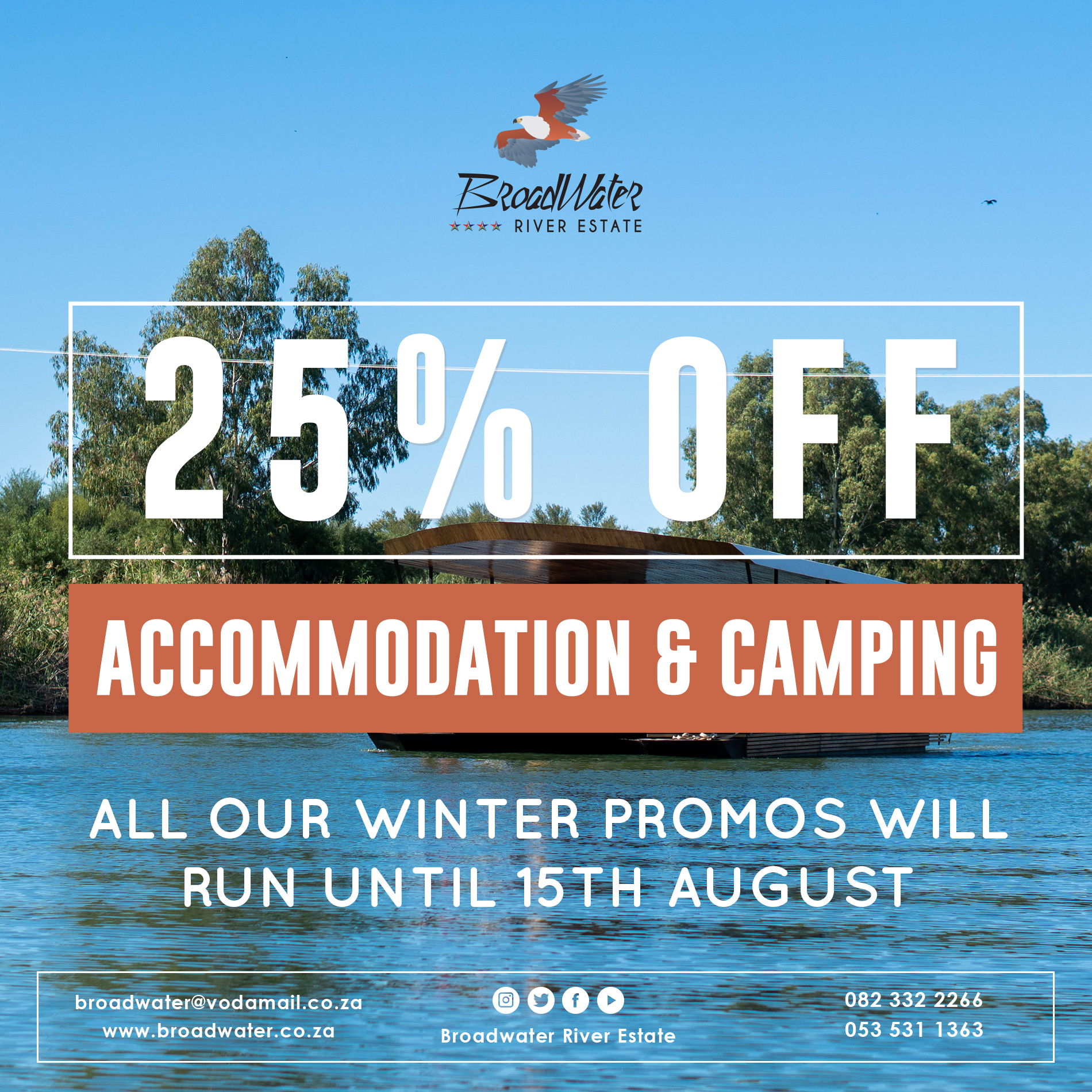 25% off accommodation and camping during winter