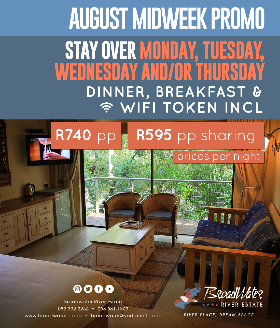 stay over monday, tuesday, wednesday and thursday wih dinner and wifi
