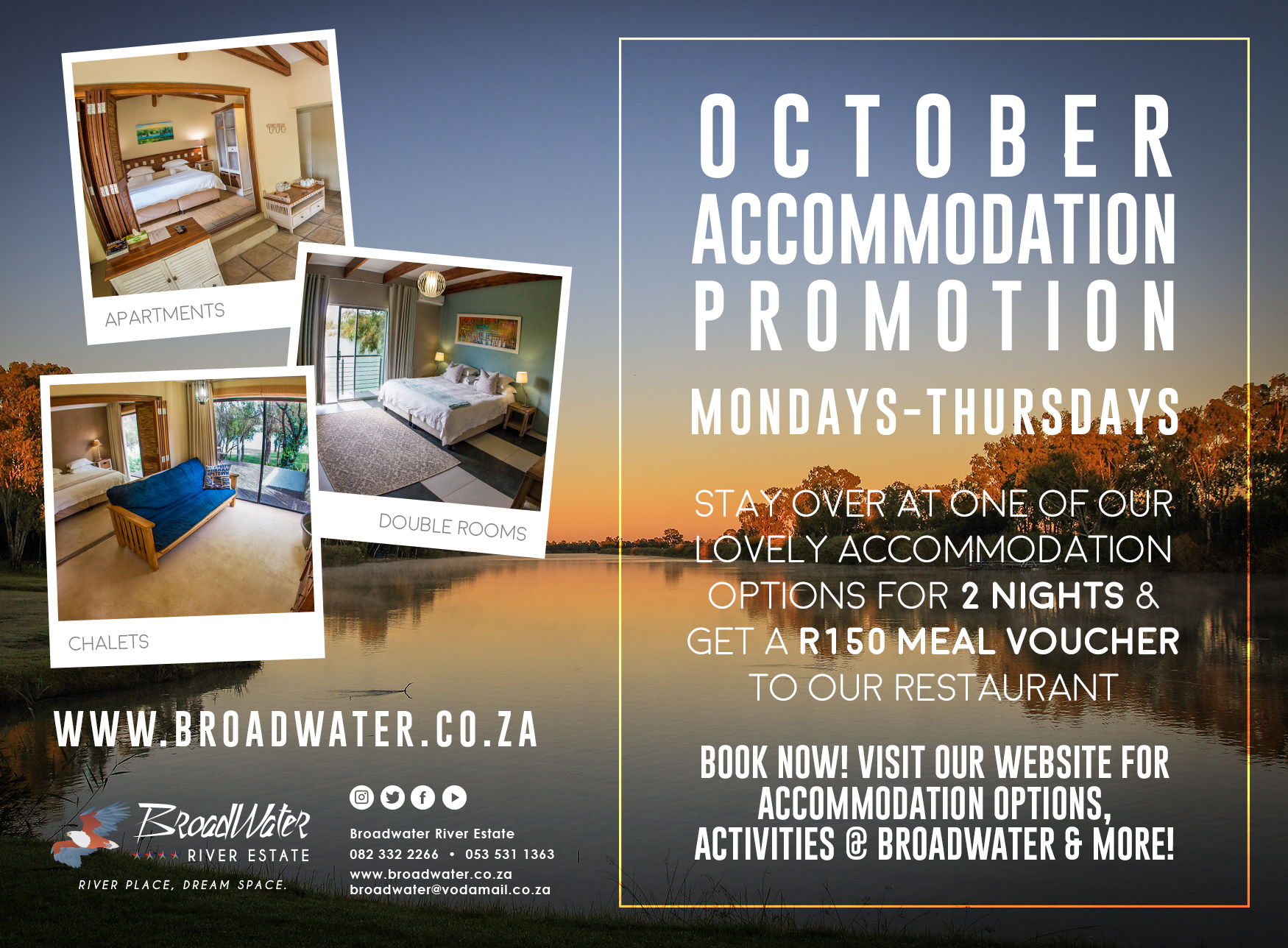 october accommodation from monday to thursday