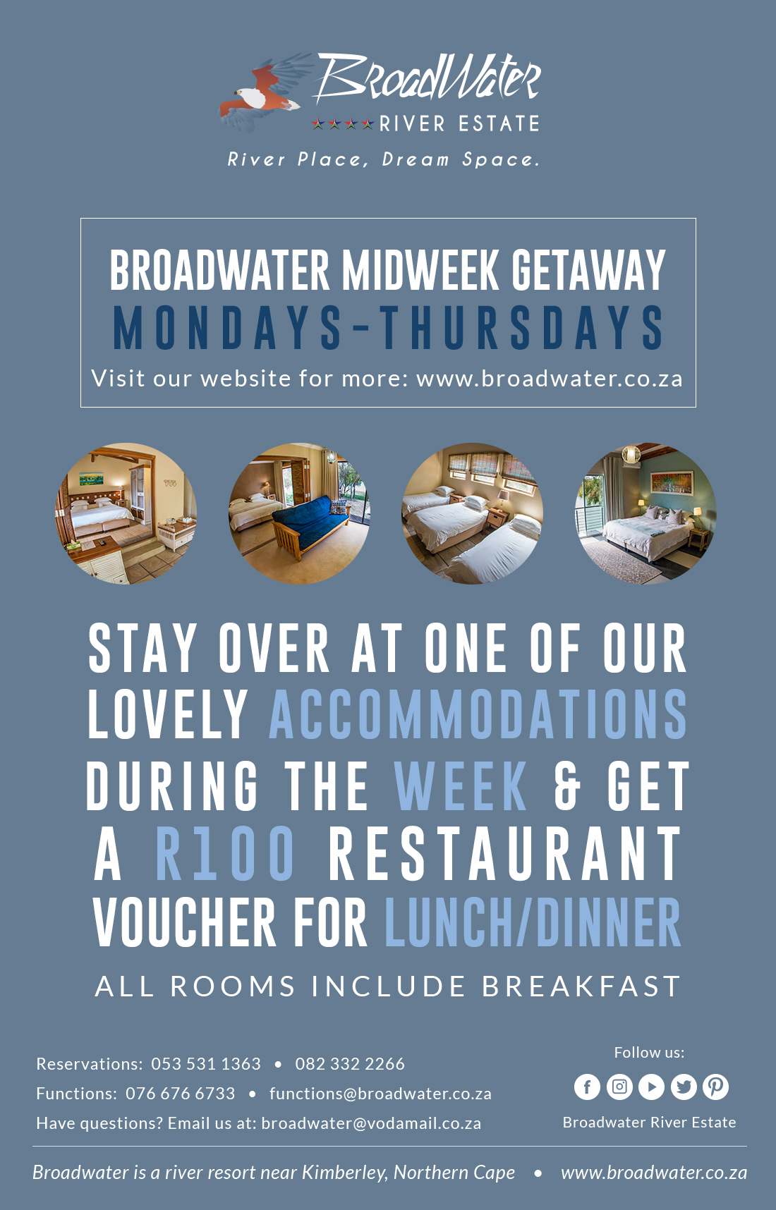 broadwater midweek getaway, stay over at one of our lovely accommodations during the week and get R100 off at our restaurant